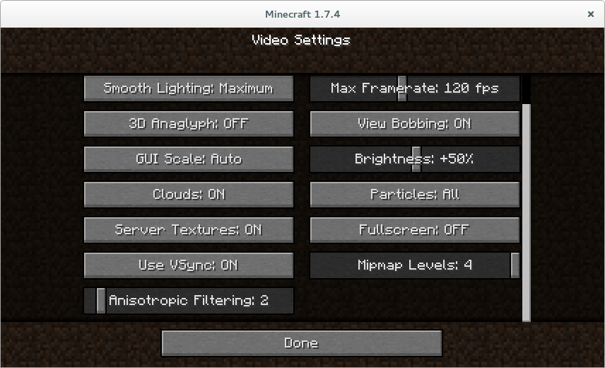 Minecraft settings showing anisotropic filtering set to 2